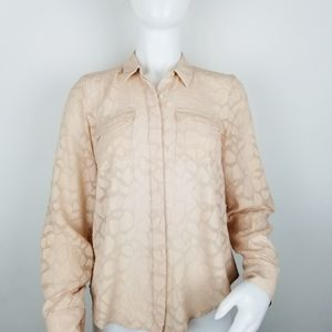 Ann Taylor Size 2 Button Front Sheer Blouse